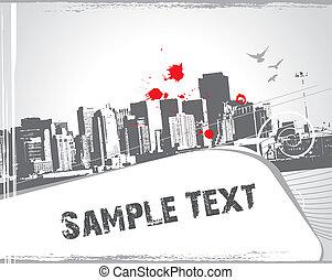 muestra, urbano, moderno, escena, texto