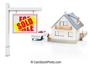 muestra vendida, delante de, casa