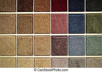 muestras, alfombra