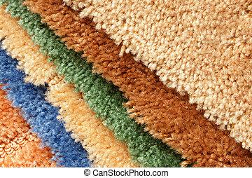 muestras, colección, alfombra
