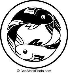 muestras del zodiaco, piscis, pesque icono