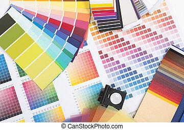 muestras, diseñador, coloreado