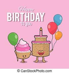 muffin, anniversaire, conception, gâteau, ballons, heureux