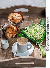 muffin, café, délicieux