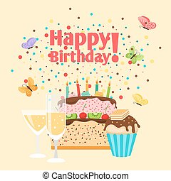 Muffin, cake and champagne birthday card