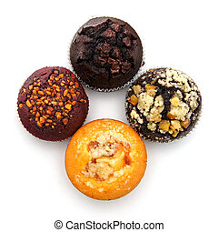 Muffin cake on white background.