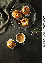 Muffin cake - Served dessert with muffins cake and coffee. ...