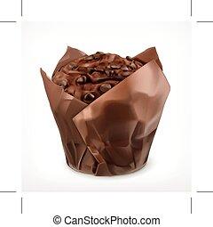 muffin, chocolate, ícone