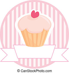 Sweet retro muffin cupcake on pink vintage strips background with white place for your own text. Button, logo or wedding invitation vector card.
