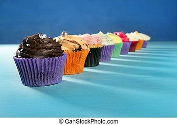 muffin, cupcakes, krém, színes, egyezség