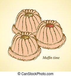 muffin, esboço, gostoso, estilo, vindima