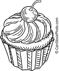 muffin, estilo, retro, woodcut, vindima
