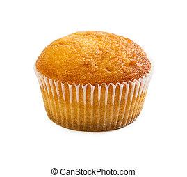 muffin, fehér, elszigetelt, háttér