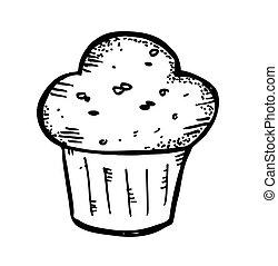 muffin, griffonnage