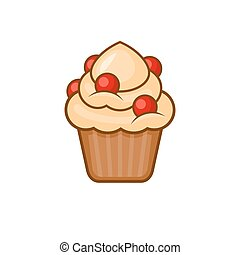 Muffin Icon. Cupcake on White Background. Vector