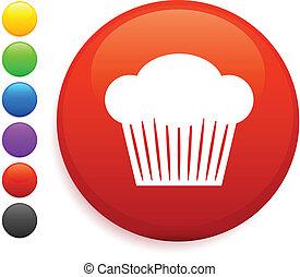 muffin icon on round internet button original vector...