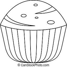Muffin icon, outline style.