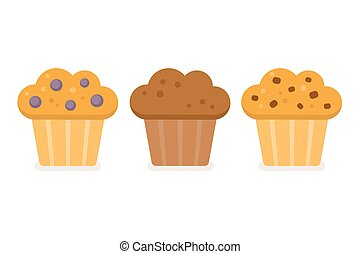 Muffin icon set. Blueberry, chocolate and chocolate chip....