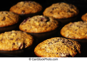 muffin in an oven