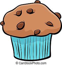 muffin, met, chocolade, spotprent, voorwerp