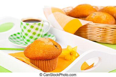 muffin, met, koffiekop, voor, ontbijt