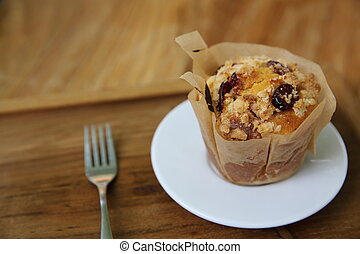 muffin on wood background
