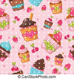 muffin, pattern., seamless, achtergrond, cupcake