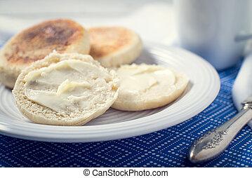 muffin, petit déjeuner, anglaise, fait maison, pain