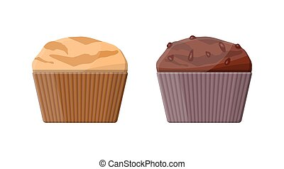 Muffin set. Chcolate and vanilla cupcake.
