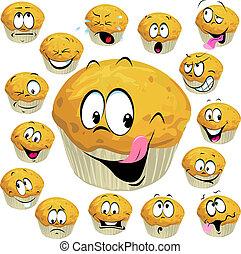 muffin, spotprent, met, velen, uitdrukking, vrijstaand, op...