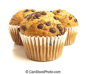 muffin - delicious chocolate muffin on a white background