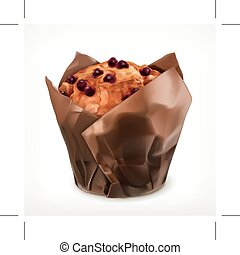 muffin, vetorial, ícone