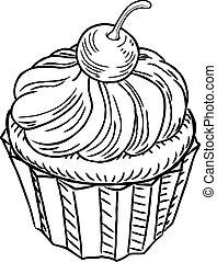 muffin, weinlese, retro, holzschnitt, stil