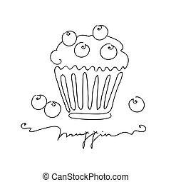 Muffin with blueberry isolated on white background. Hand drawn vector illustration line art style.