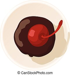 Muffin with cherry icon, cartoon style