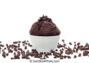 Muffin with chocolate chips on white background