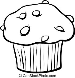 muffin with chocolate coloring book - Black and White...