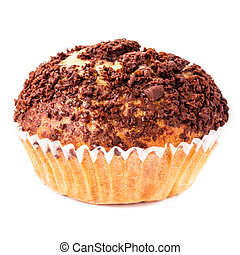 Muffin with chocolate sprinkles isolated on white...