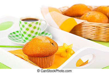 muffin with coffee cup, for breakfast