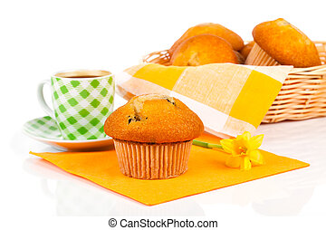 muffin with coffee on a white background