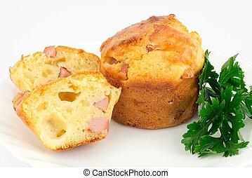 muffin with ham and mozzarella - muffins