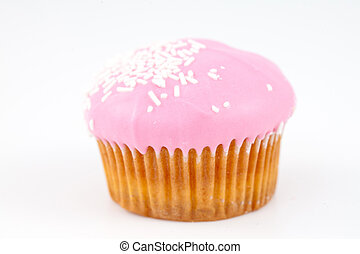 Muffin with icing sugar against a white background
