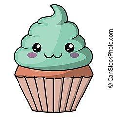 Muffin with kawaii face design