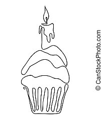 Muffin with one candle isolated on white background.