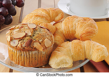 Muffins and croissants