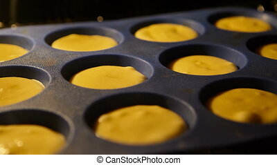 Muffins. Baking in oven. Time lapse footage of cooking Cupcakes