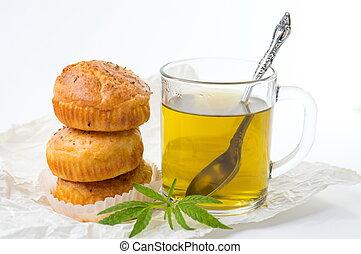 muffins, chá, quentes, marijuana, cupcake