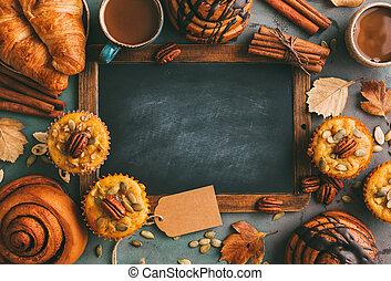 muffins, citrouille, rouleaux, coffee., cannelle