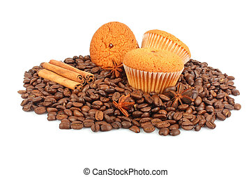 Muffins, coffee beans and spice for culinary, food photo