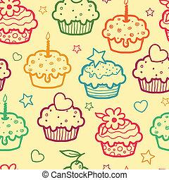 muffins, coloré, seamless, modèle fond